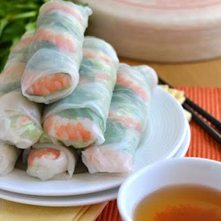 Ingredients of Vietnamese Fresh Spring Rolls with Shrimp.