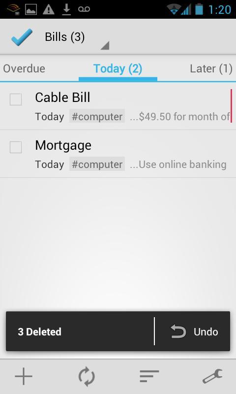 BHive Google Tasks - screenshot
