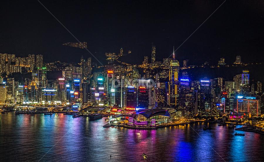 Hong Kong lights by Vibeke Friis - City,  Street & Park  Skylines ( lights, hong kong, skyline, colourful, colorful, harbour, night, city, , city at night, street at night, park at night, nightlife, night life, nighttime in the city )