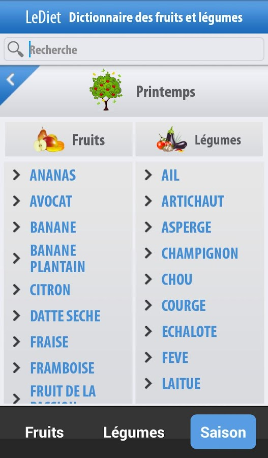 Fruits et légumes- screenshot