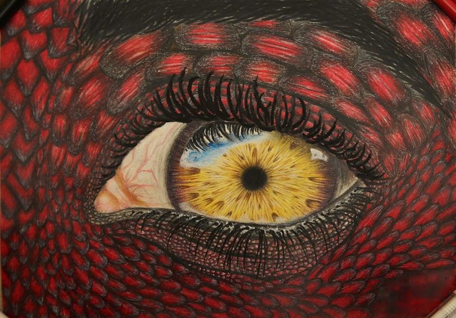 Lizard man's eye by Esma Kurbegović - Drawing All Drawing ( amazing, realistic, colorful, detailed, art, drawing, eye )