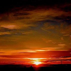 Bright Sunset by Nat Bolfan-Stosic - Landscapes Sunsets & Sunrises ( willage, red, sky, bright, sunset )