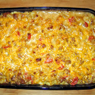 Cheesy Macaroni and Beef Casserole with Thyme.