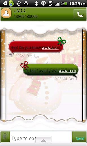 GO SMS THEME SnowmanTime