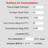Scuba Surface Air Consumption