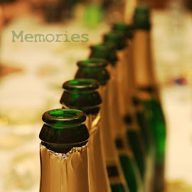memories by Charles KAVYS - Typography Captioned Photos ( green, sekt, memories, bottles, gold )