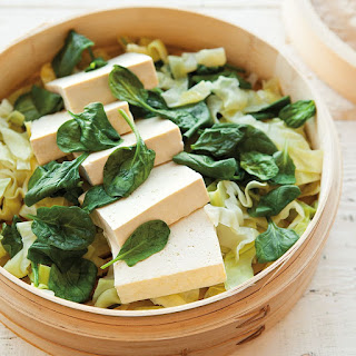 Steamed Tofu with Greens and Peanut Sauce
