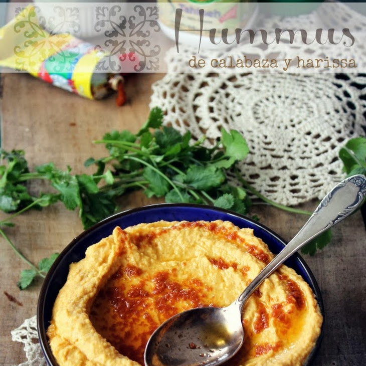 Pumpkin Hummus with Harissa Sauce