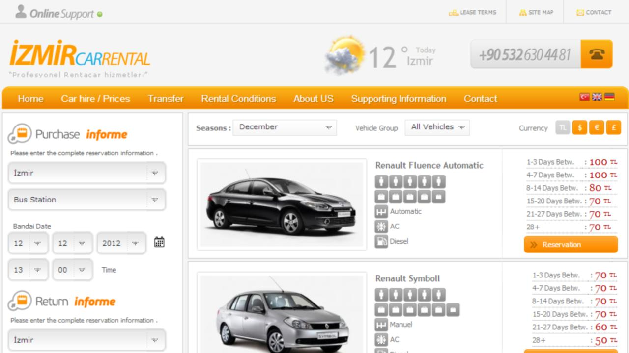 izmir car rental company- screenshot