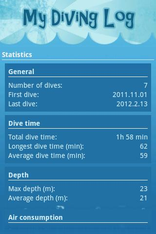 My Diving log - screenshot