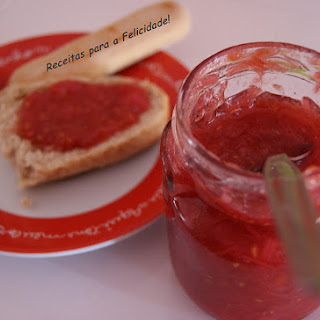 Rhubarb Jam with Raspberries and Ginger.