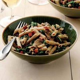 Ham, Spinach and Mushroom Pasta with Walnut Pesto