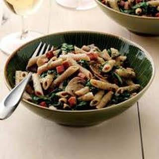Ham, Spinach and Mushroom Pasta with Walnut Pesto.