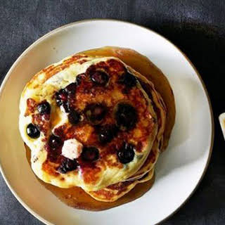 Lemony Cream-Cheese Pancakes With Blueberries.