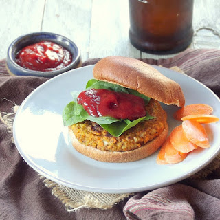 Walnut Carrot Burgers with Spicy Maple Ketchup.