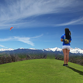 Born Free by Vinod Chauhan - Uncategorized All Uncategorized ( clouds, sky, snowline, girl, nature, beauty )