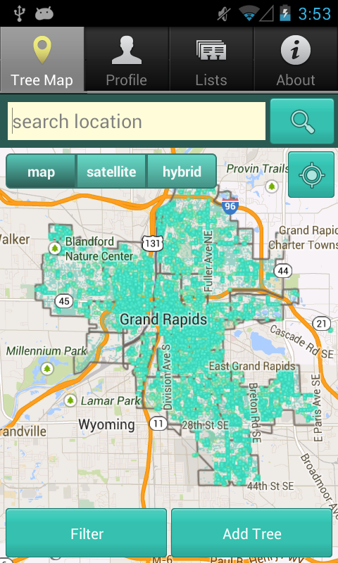 Grand Rapids Tree Map- screenshot