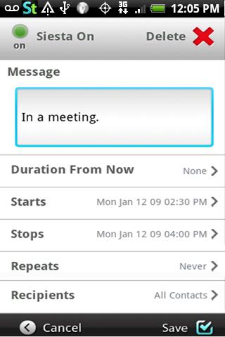 Siesta Text: Auto Away Message - screenshot