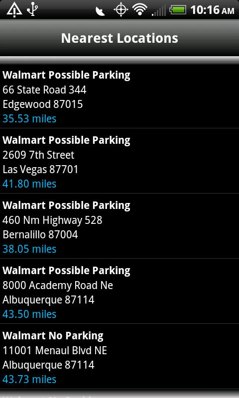 Walmart Overnight Parking - screenshot