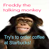 Talking monkey at Starbucks