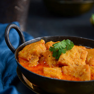 Rajasthani Pitor Ki Sabzi / Chickpea Flour Dumplings in a Curd based Curry.
