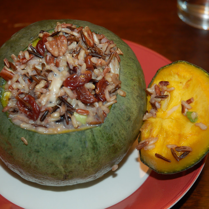 Wild rice-cherry-pecan-stuffed Winter Squash