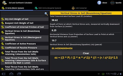 Soil & Earthwork Calc. Tablet- screenshot thumbnail