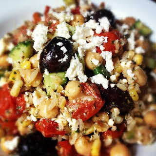 Brown Rice Greek Salad with Roasted Tomatoes.