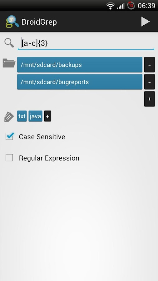 DroidGrep - screenshot