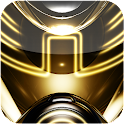 3D glow gold GO theme logo