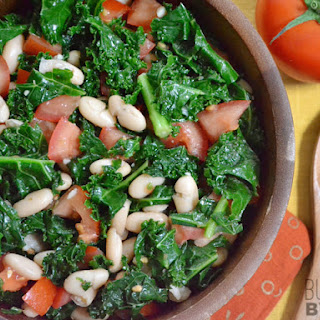 Marinated Kale, White Bean, and Tomato Salad.