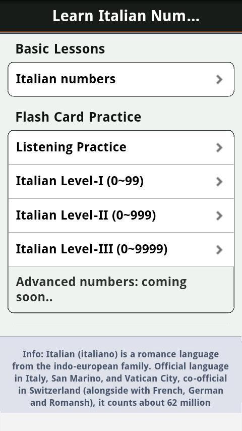 Italian Numbers & Counting - Android Apps on Google Play