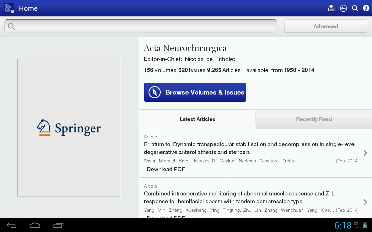 Acta Neurochirurgica- screenshot