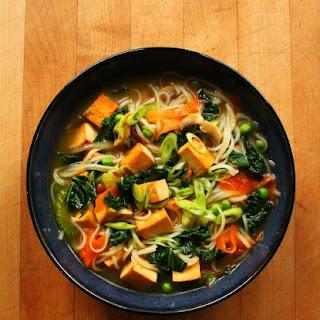 Tofu Vegetable Noodle Soup.