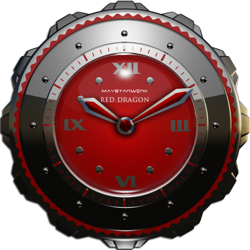 Dragon Clock Widget red
