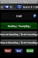 Screenshot of Quiz: Cities in France