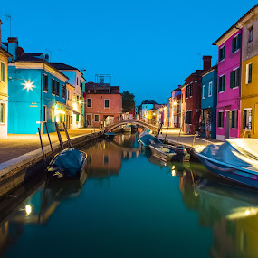 Burano by Stephen Bridger - City,  Street & Park  Historic Districts ( water, europe, colors, boats, burano, travel, boat, canal, colours, colour, colourful, night photography, color, venice, long exposure, italy, travel photography )