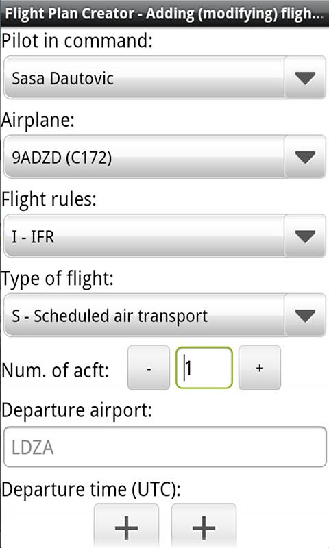 Flight Plan Creator- screenshot
