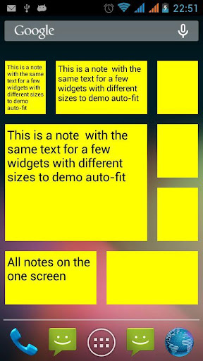 Notes widget auto-fit text