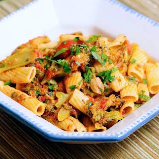 Pasta with Braised Broccoli and Tomato.