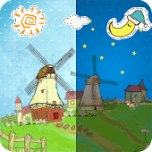 Cartoon Grassland windmill FLW
