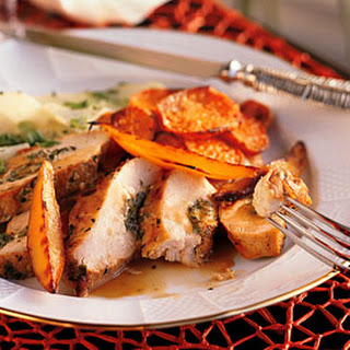 Guava-Stuffed Chicken with Caramelized Mango.