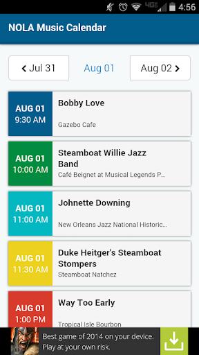 NOLA Music Calendar