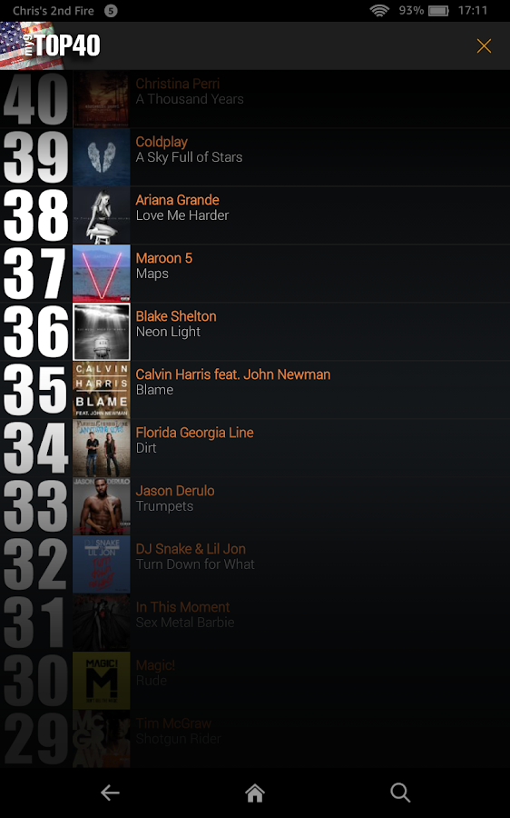 My9 top 40 us music charts android apps on google play