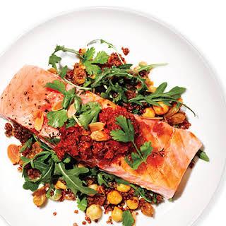 Salmon, Red Quinoa, and Arugula Salad.