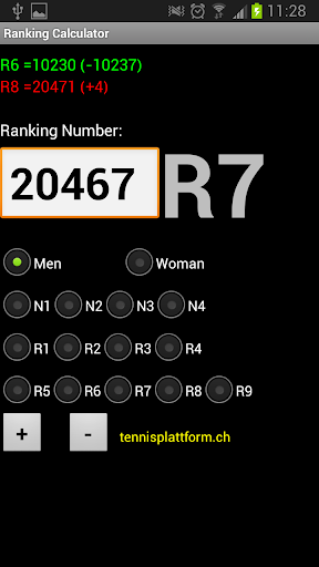 Tennis Ranking Calculator