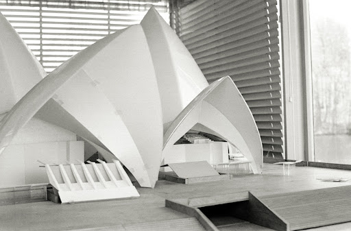 Detail from early parabolic scheme model, 1:60 scale, with interior designs and stair coverings