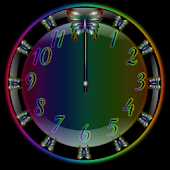 Butterfly Rainbow Clock Widget