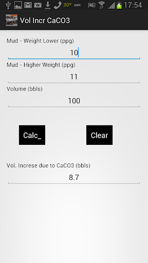 Volume Increase due to CaCO3
