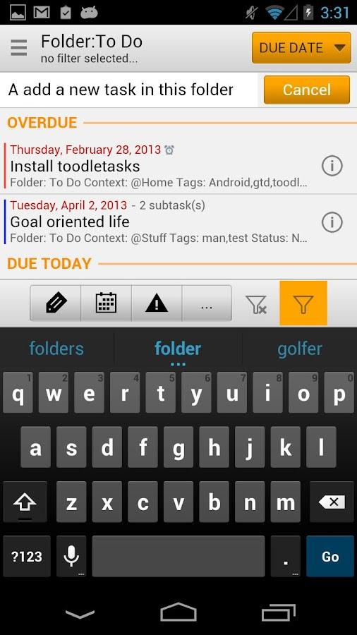 toodleTasks PE for Toodledo - screenshot